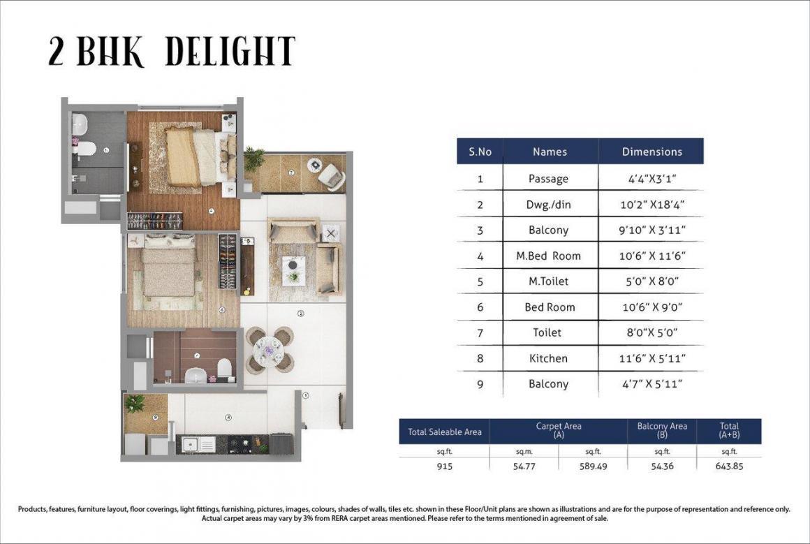 Shapoorji Pallonji JoyVille Gurugram Floor Plan: 2 BHK Unit with Built up area of 589 sq.ft 1
