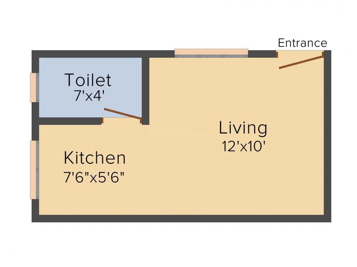 Floor Plan Image of 300 - 425 Sq.ft 1 RK Apartment for buy in SK Mateshwari Plaza