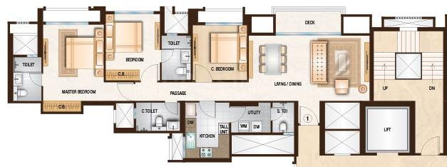 Hiranandani Clifton Floor Plan: 3 BHK Unit with Built up area of 1033 sq.ft 1