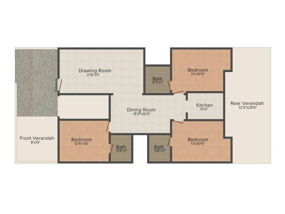 Floor Plan Image of 0 - 1400.0 Sq.ft 3 BHK Independent Floor for buy in Sun Projects C-670 Sl-1