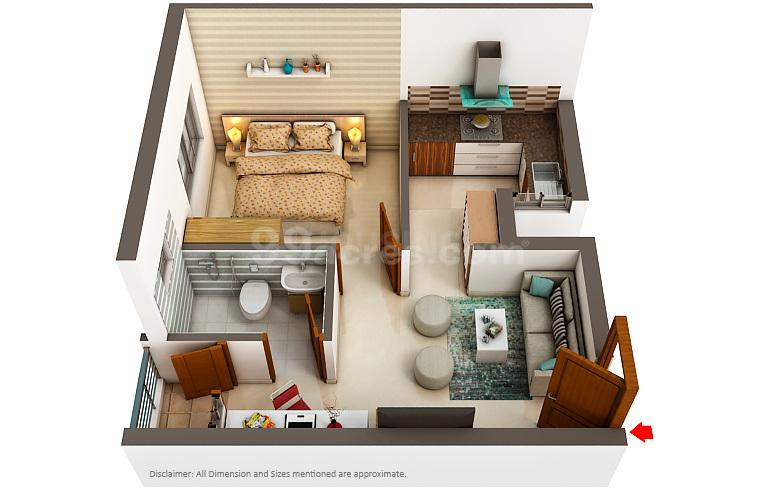 Floor Plan Image of 509 - 862 Sq.ft 1 BHK Apartment for buy in Artha Neo Smart City