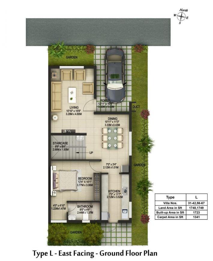 Casagrand Aqua Floor Plan: 3 BHK Unit with Built up area of 1723 sq.ft 1