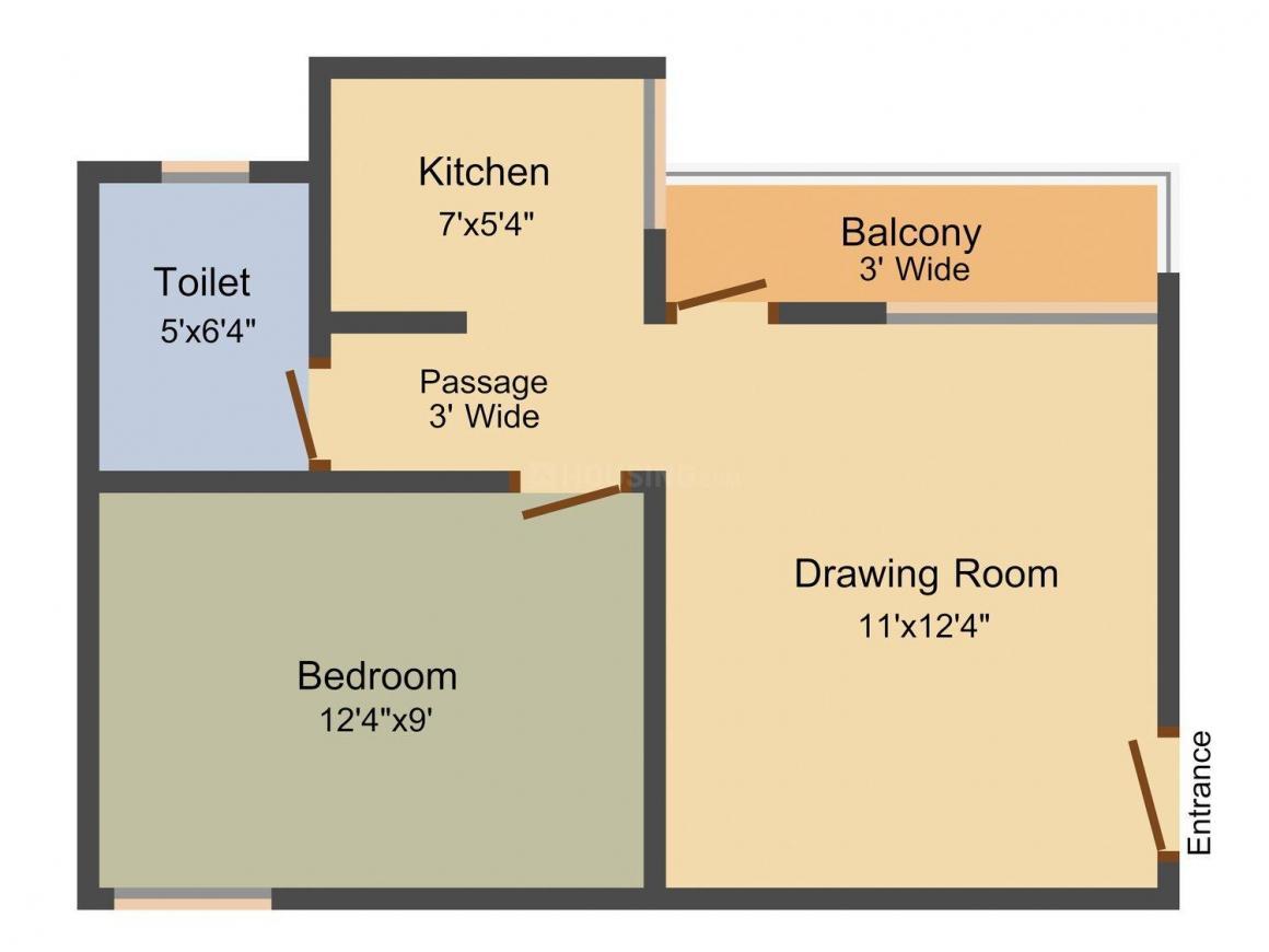 Floor Plan Image of 596.0 - 887.0 Sq.ft 1 BHK Apartment for buy in Realty Lavanya Homes