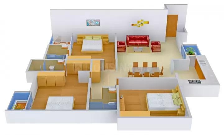 Right Right Solutions Prime Rose Floors Floor Plan: 3 BHK Unit with Built up area of 2160 sq.ft 1