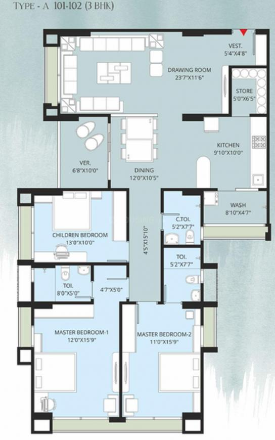 Anmol Ambience Floor Plan: 3 BHK Unit with Built up area of 1295 sq.ft 1