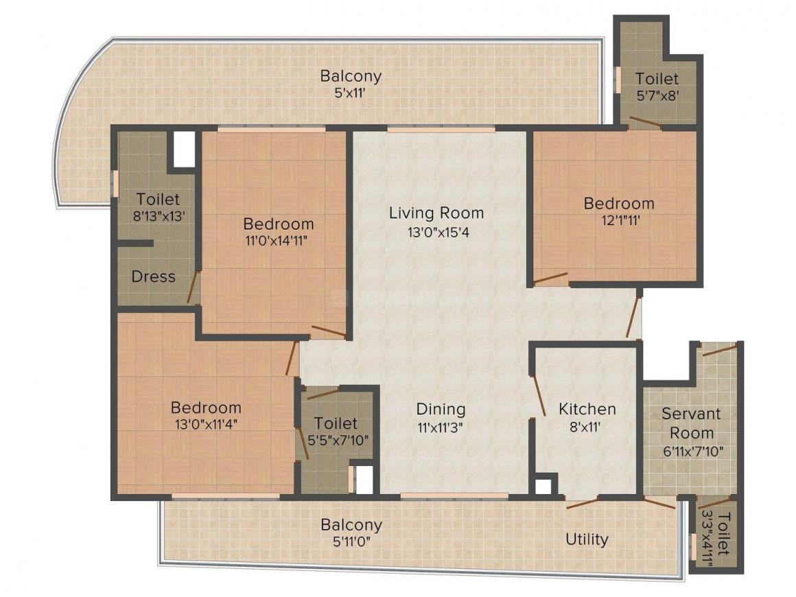 Chintels Serenity Floor Plan: 3 BHK Unit with Built up area of 2100 sq.ft 1