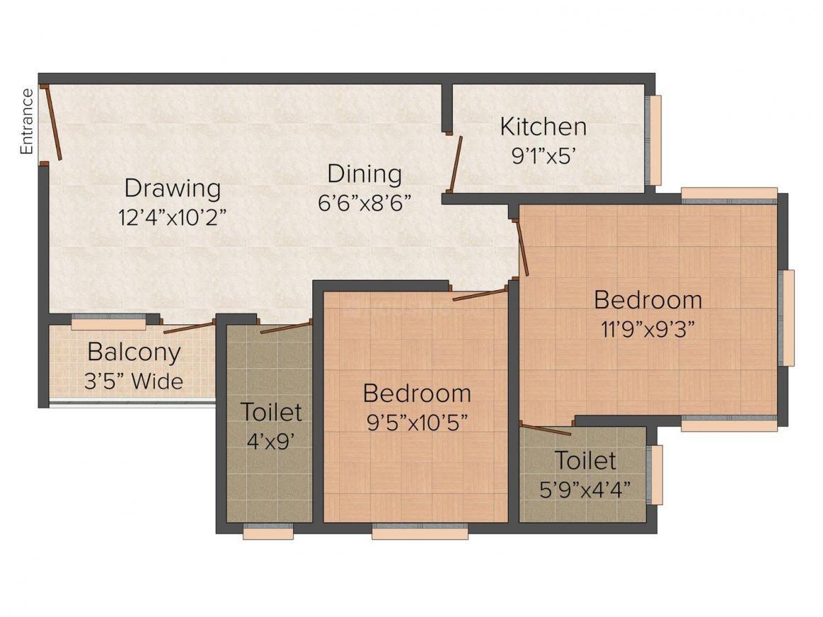 Floor Plan Image of 891 - 1501 Sq.ft 2 BHK Apartment for buy in Pansas City Residency