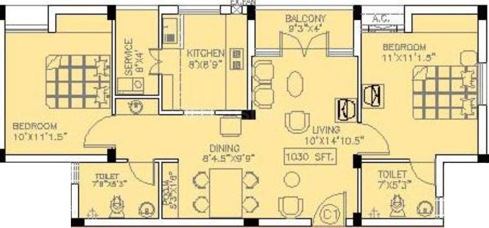 Doshi Trinity Park Floor Plan: 2 BHK Unit with Built up area of 1030 sq.ft 1