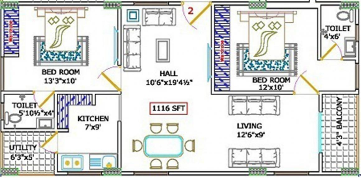 SS Navya Pearl Floor Plan: 2 BHK Unit with Built up area of 1116 sq.ft 1