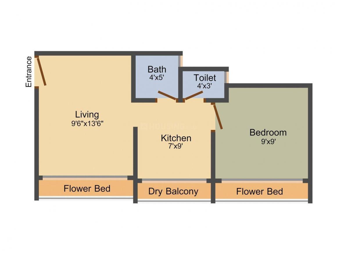 Floor Plan Image of 550 - 750 Sq.ft 1 BHK Apartment for buy in Sai Mudra Nine Star Residency (Purva)