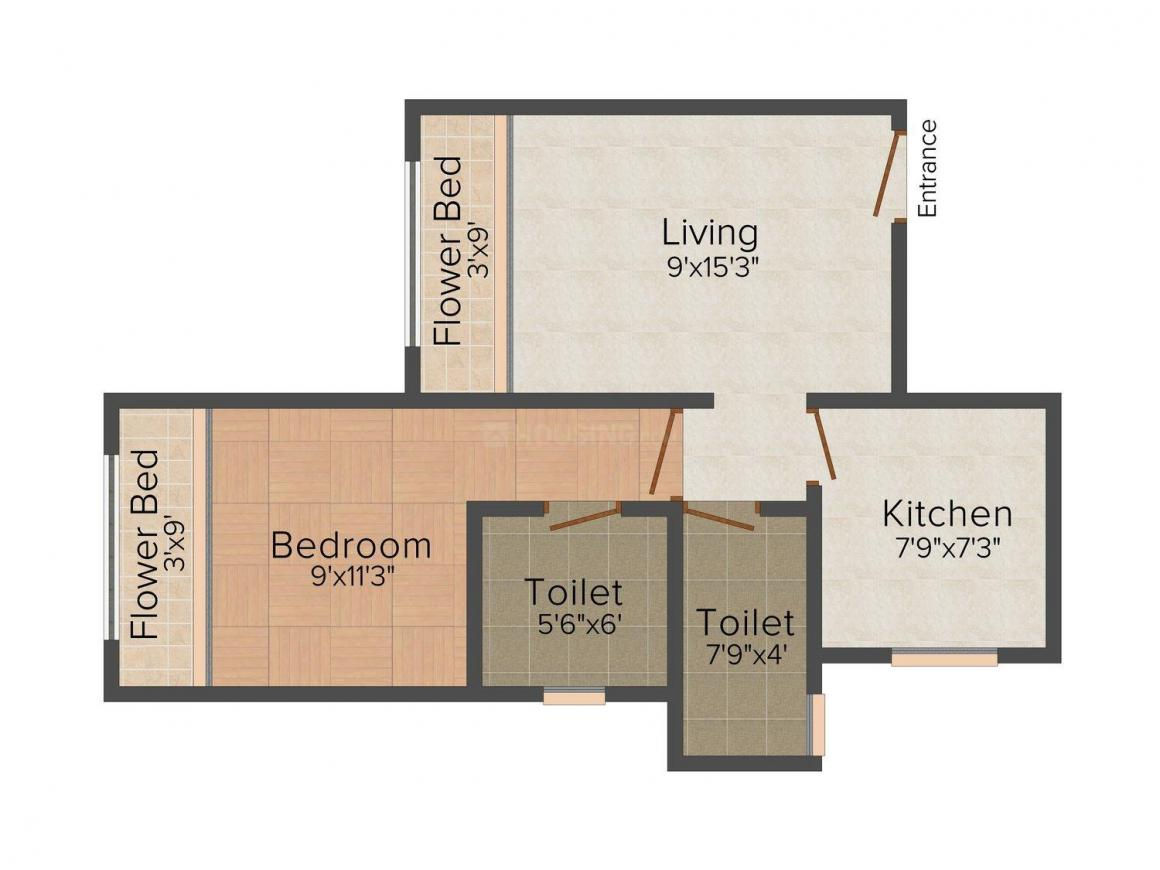 Floor Plan Image of 575 - 765 Sq.ft 1 BHK Apartment for buy in Devbhoomi Ideal City Building No 3