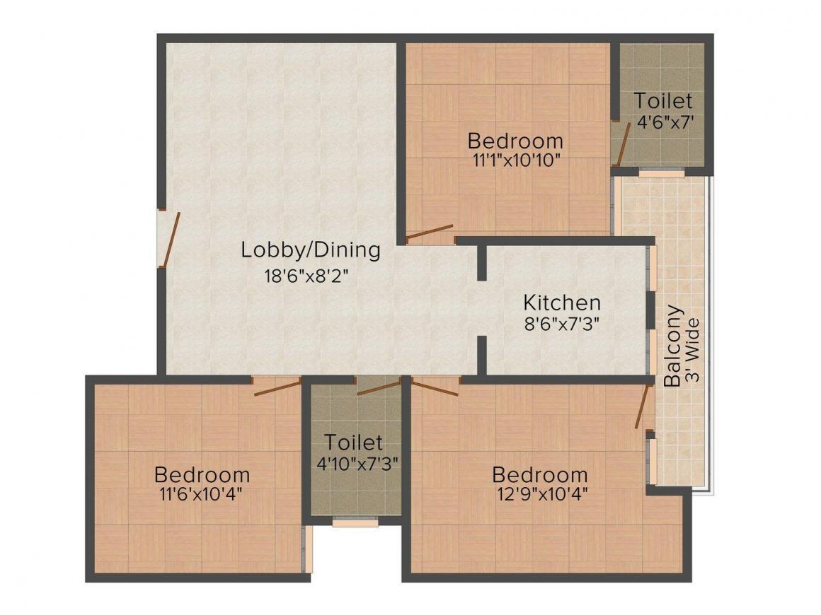 Floor Plan Image of 0 - 1400 Sq.ft 3 BHK Independent Floor for buy in Phulkari Orange Floors