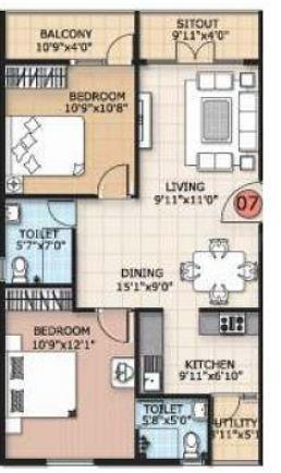 Trifecta Verdure Floor Plan: 2 BHK Unit with Built up area of 1030 sq.ft 1