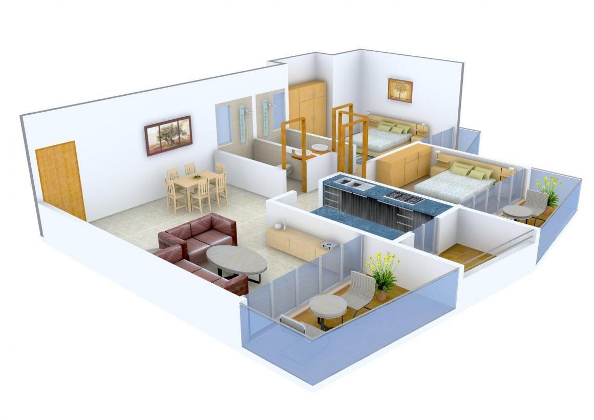 Floor Plan Image of 0 - 653.0 Sq.ft 2 BHK Apartment for buy in Advitiya Aasra Freedom