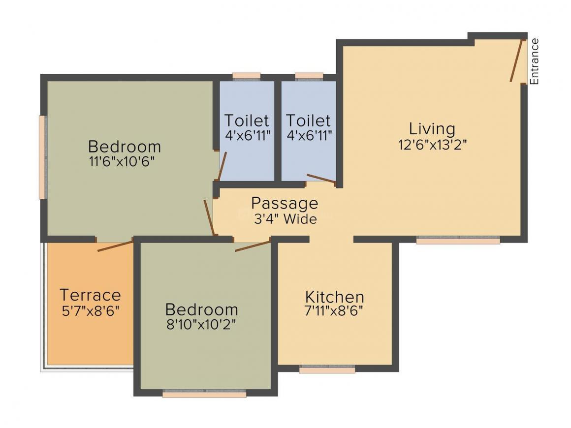 Floor Plan Image of 896.0 - 928.0 Sq.ft 2 BHK Apartment for buy in Patel RPL Orchid Petal