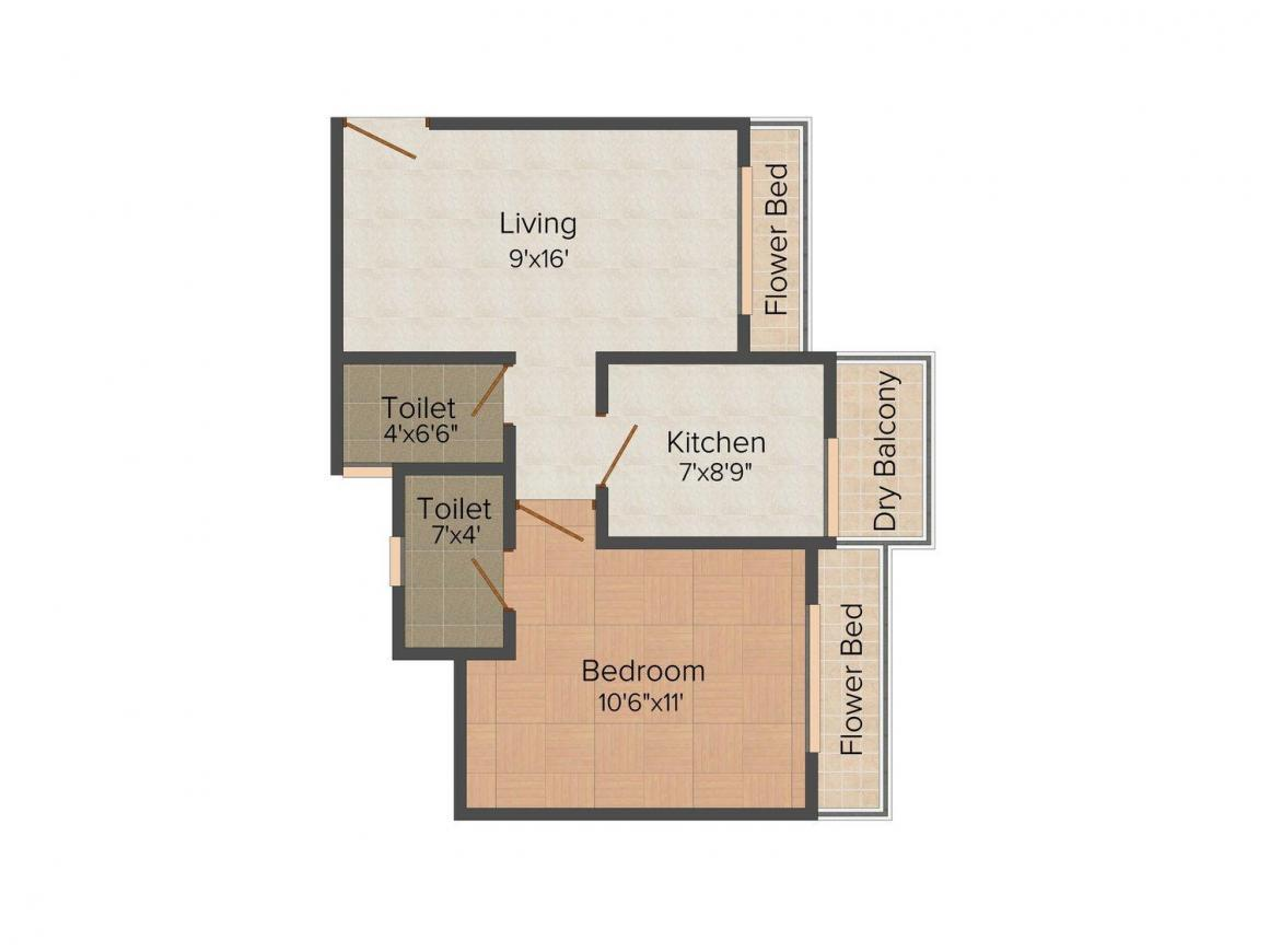 Floor Plan Image of 364.0 - 715.0 Sq.ft 1 BHK Apartment for buy in Annapurna Jyoti