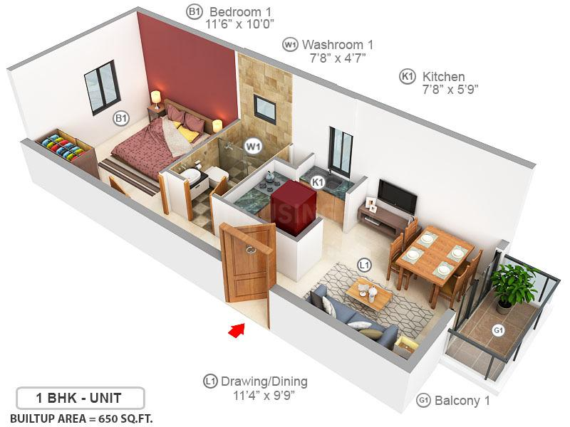 ASG Apple 7 Floor Plan: 1 BHK Unit with Built up area of 650 sq.ft 1