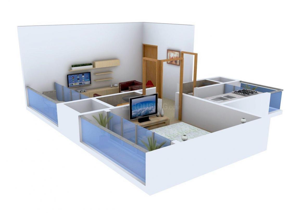 Floor Plan Image of 395.0 - 645.0 Sq.ft 1 BHK Apartment for buy in Skyline Aarush Darshan
