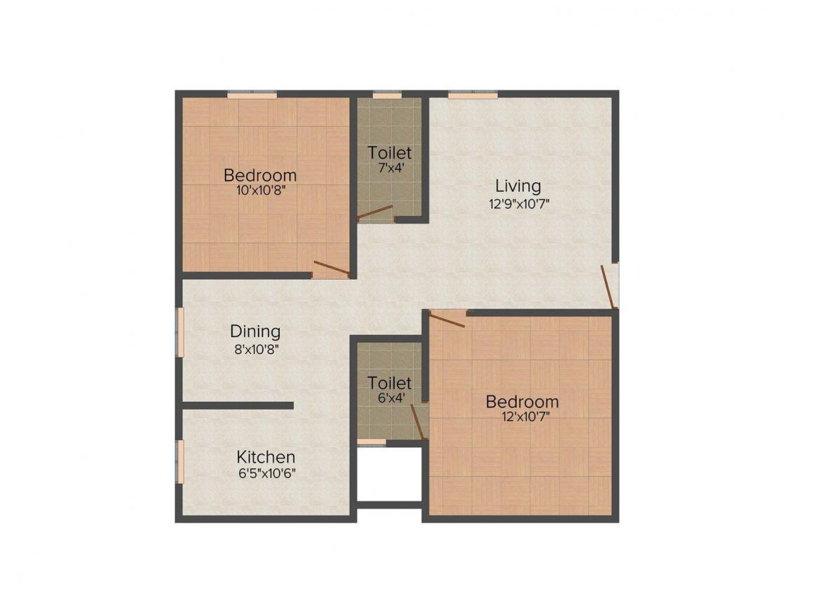 Floor Plan Image of 0 - 854 Sq.ft 2 BHK Apartment for buy in Antonys Lenid