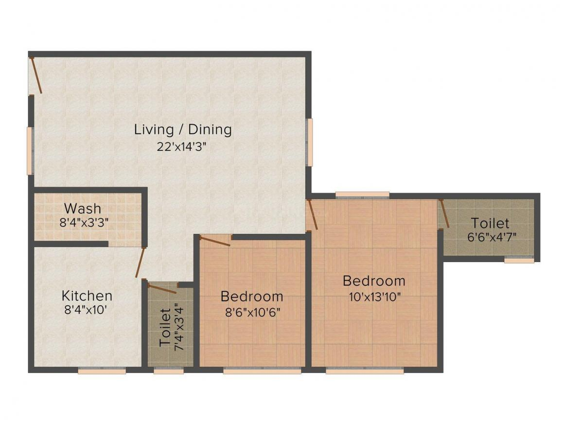 Super Good Nest Floor Plan: 2 BHK Unit with Built up area of 1032 sq.ft 1