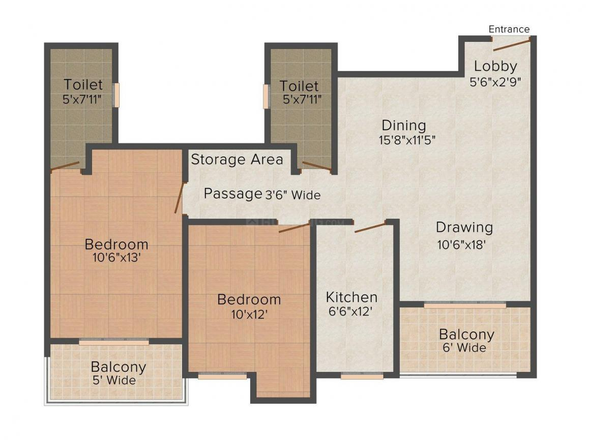 Floor Plan Image of 0 - 1250 Sq.ft 2 BHK Apartment for buy in Ashiana Magnolia