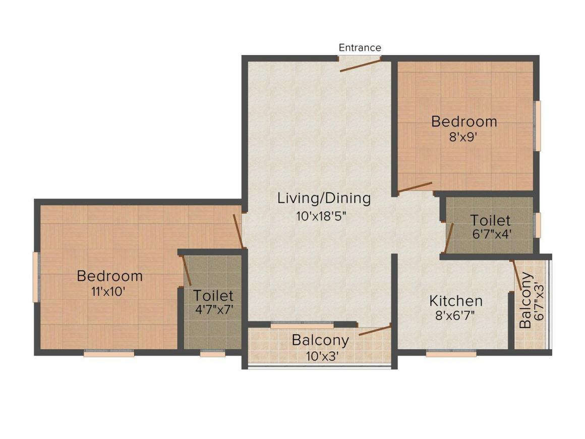 VF Prosperity Floor Plan: 2 BHK Unit with Built up area of 728 sq.ft 1