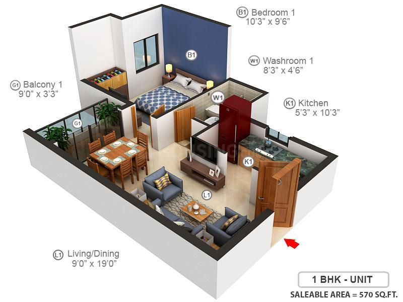 Pragnya Hazel Floor Plan: 1 BHK Unit with Built up area of 570 sq.ft 1