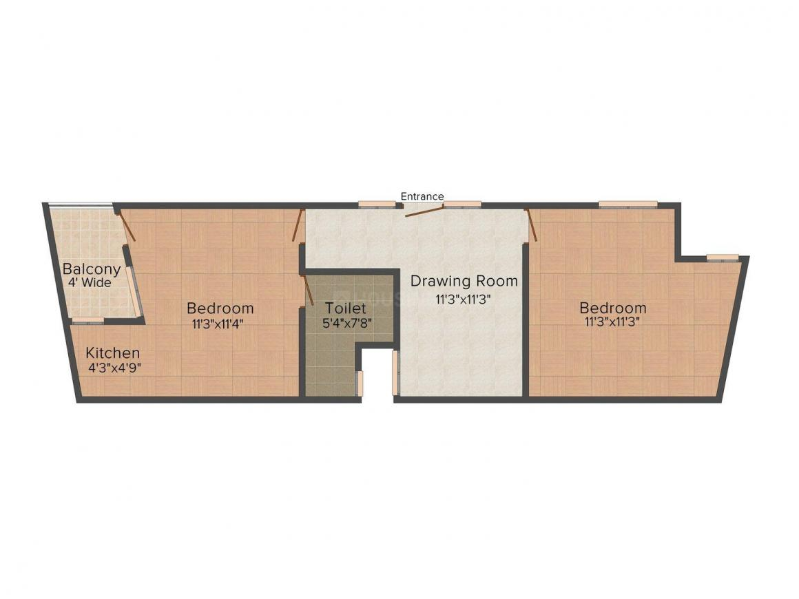 Fair Deal Site - 1 Floor Plan: 2 BHK Unit with Built up area of 600 sq.ft 1