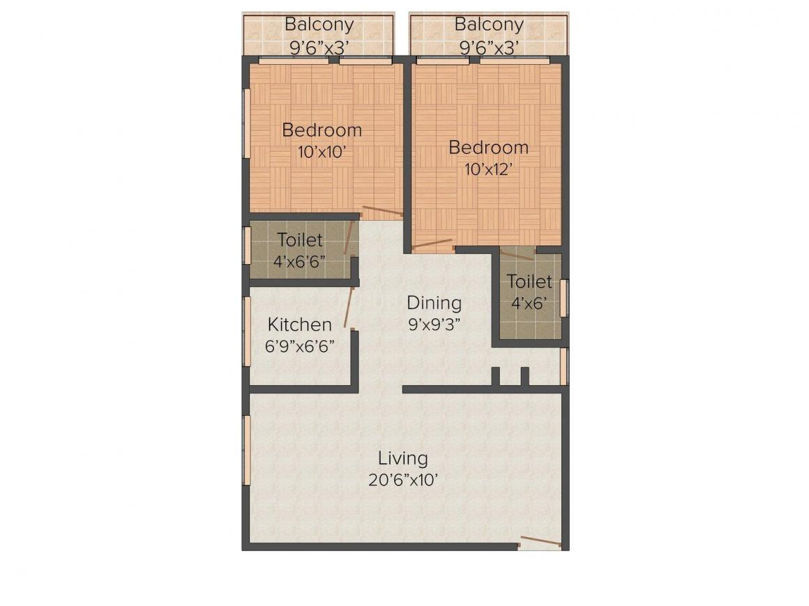 Floor Plan Image of 897 - 960 Sq.ft 2 BHK Apartment for buy in Rudra Rudra Apartment
