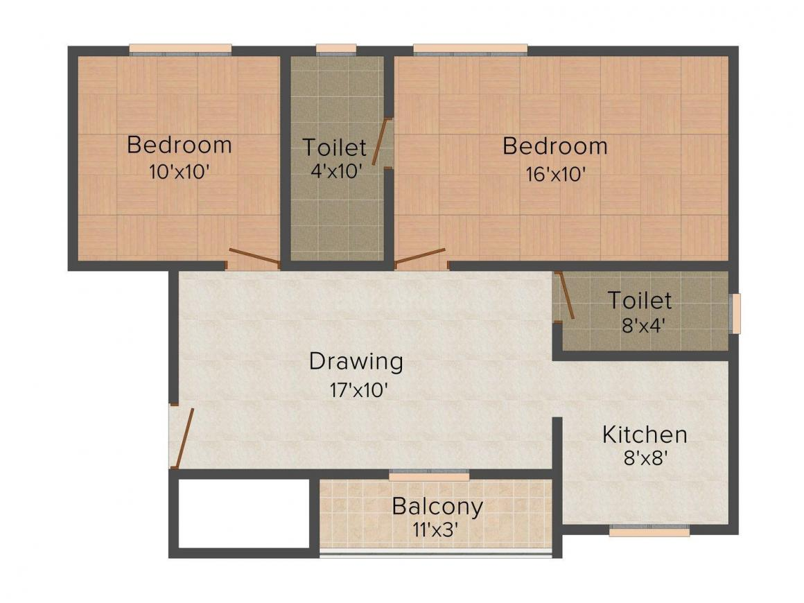 Floor Plan Image of 910 - 941 Sq.ft 2 BHK Apartment for buy in SRD SA Avenue