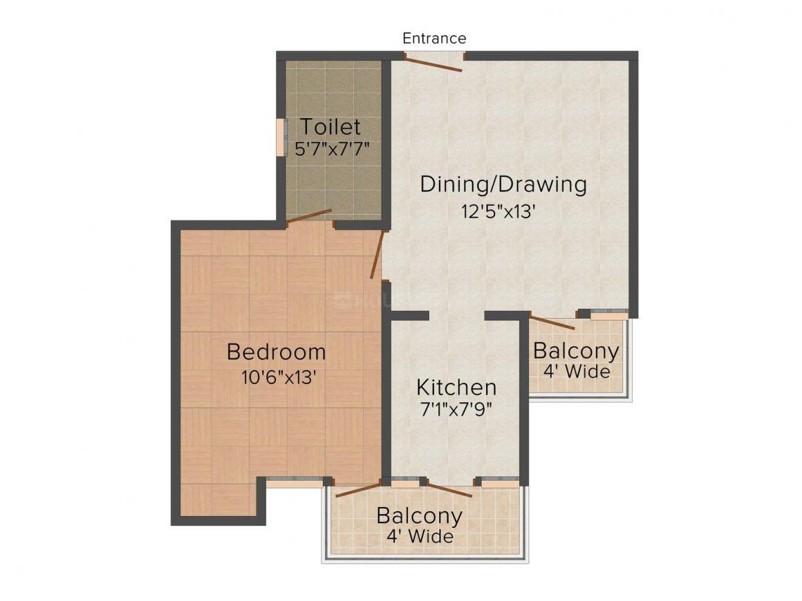 Floor Plan Image of 600 - 658 Sq.ft 1 BHK Apartment for buy in Happy Home Sarvoday Jyot