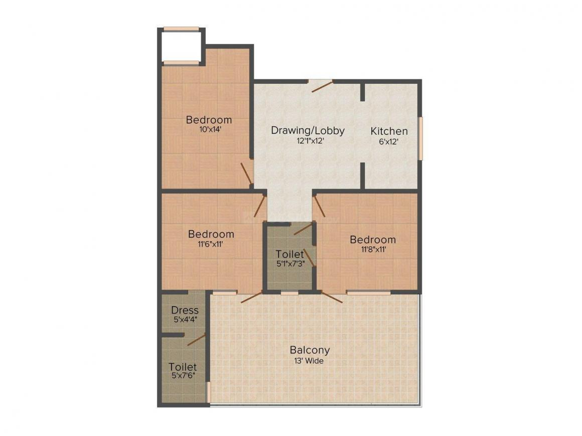 Nirmal Floors 3 Floor Plan: 3 BHK Unit with Built up area of 1000 sq.ft 1