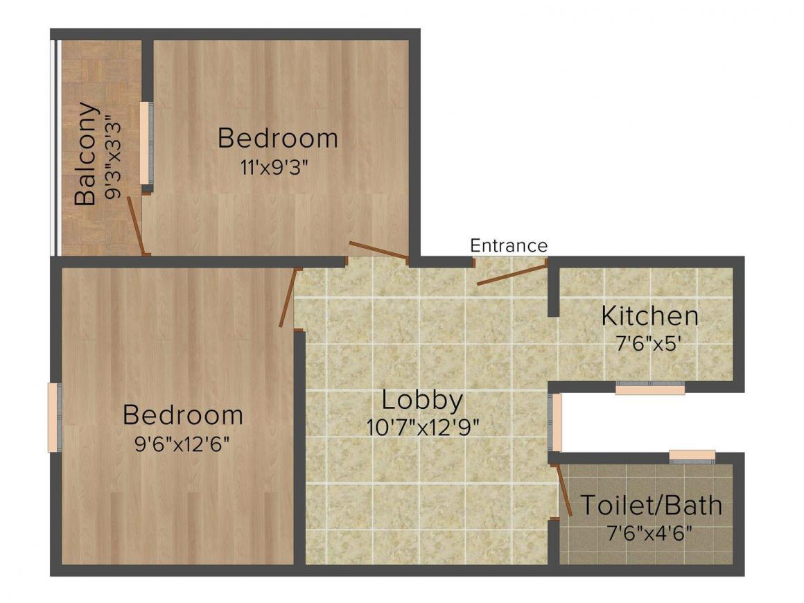 Viewtech Homes Floor Plan: 2 BHK Unit with Built up area of 612 sq.ft 1