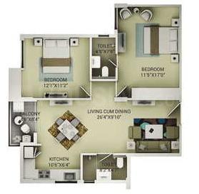 Saakaar Aqua City Floor Plan: 2 BHK Unit with Built up area of 1115 sq.ft 1