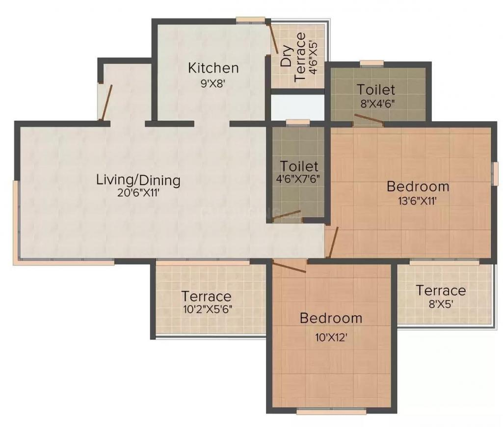 Adi Skyline Floor Plan: 2 BHK Unit with Built up area of 879 sq.ft 1