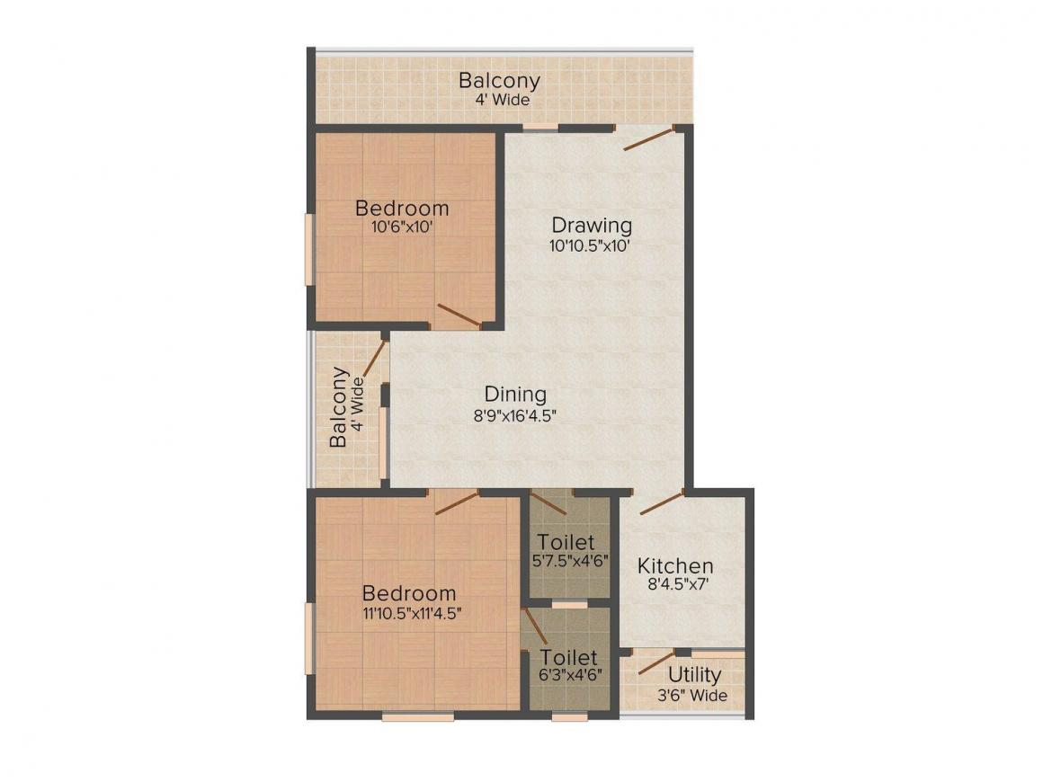 Floor Plan Image of 0 - 1110 Sq.ft 2 BHK Apartment for buy in AUC
