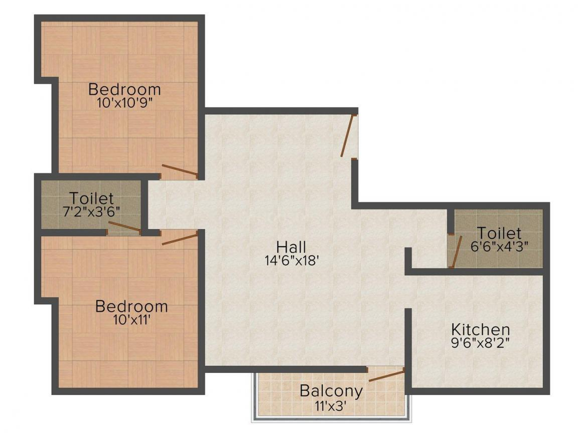 Floor Plan Image of 0 - 841.0 Sq.ft 2 BHK Apartment for buy in Yamtech's Headows