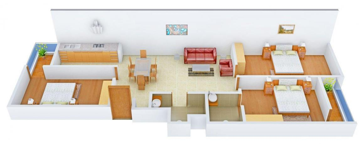 Floor Plan Image of 0 - 1300.0 Sq.ft 3 BHK Apartment for buy in Yash Apartment - CD - 229 DN