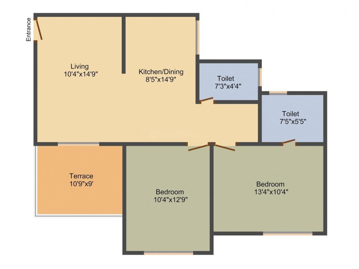 M Vijay Spring Bloom Floor Plan: 2 BHK Unit with Built up area of 995 sq.ft 1