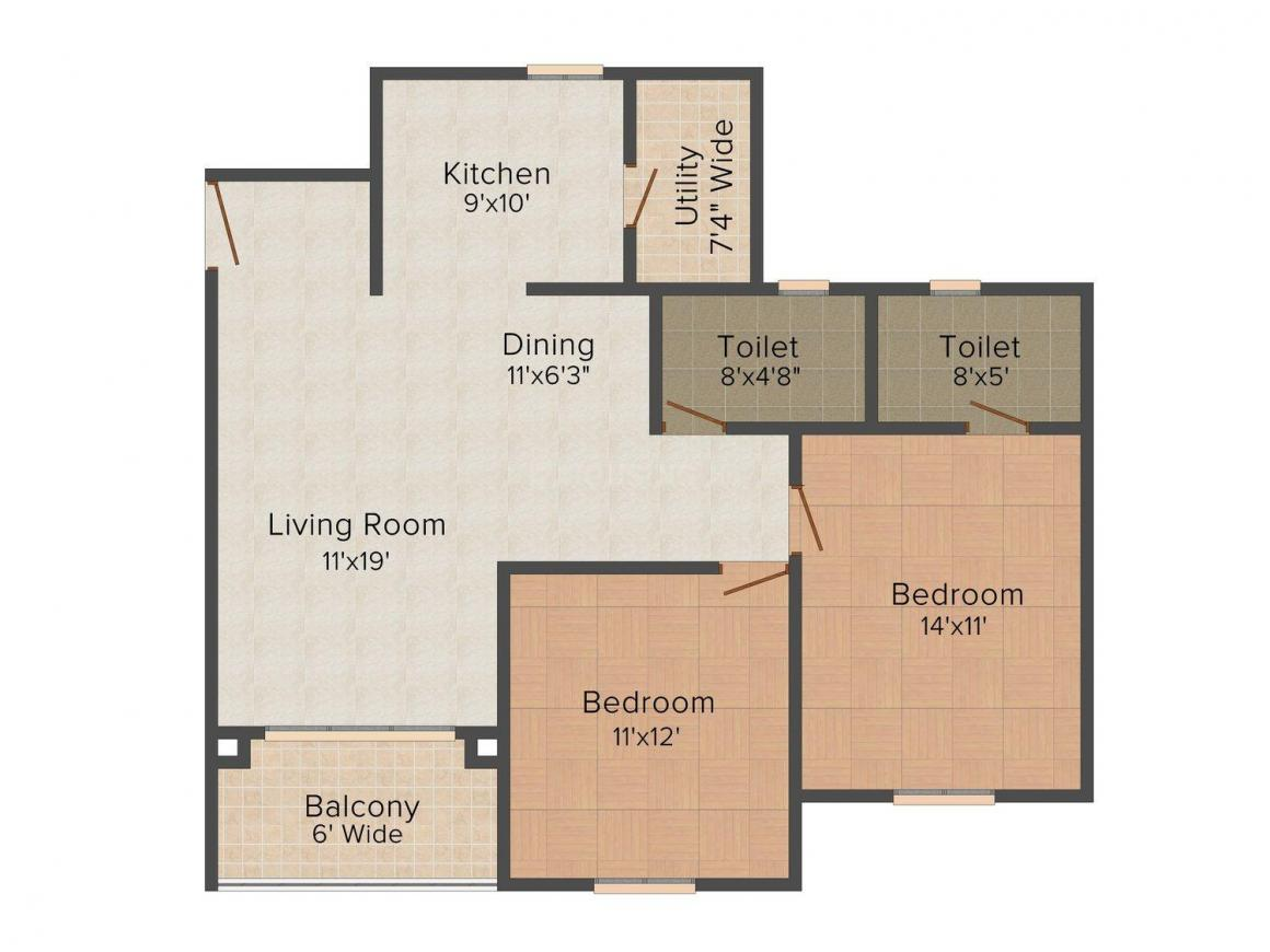 Floor Plan Image of 1198 - 2296 Sq.ft 2 BHK Apartment for buy in NCC Ivory Heights