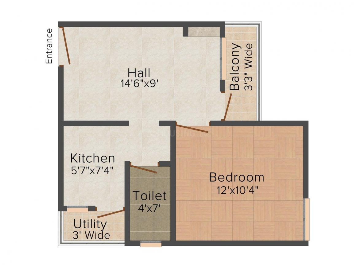 Mahabaleshwar MB Floors Floor Plan: 1 BHK Unit with Built up area of 550 sq.ft 1