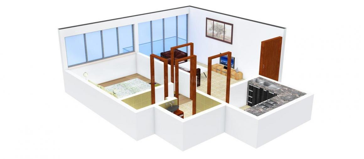Floor Plan Image of 460 - 930 Sq.ft 1 BHK Apartment for buy in Omkar Bramha