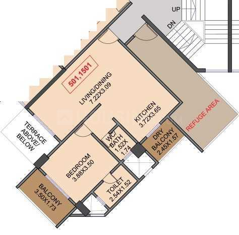 Venkatesh Skydale Floor Plan: 1 BHK Unit with Built up area of 614 sq.ft 1
