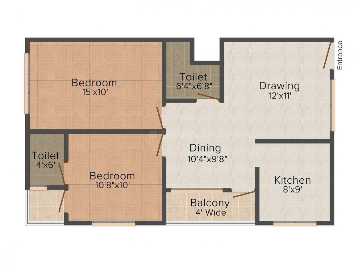 Floor Plan Image of 0 - 1010.0 Sq.ft 2 BHK Apartment for buy in Earthshastra Nariman Point