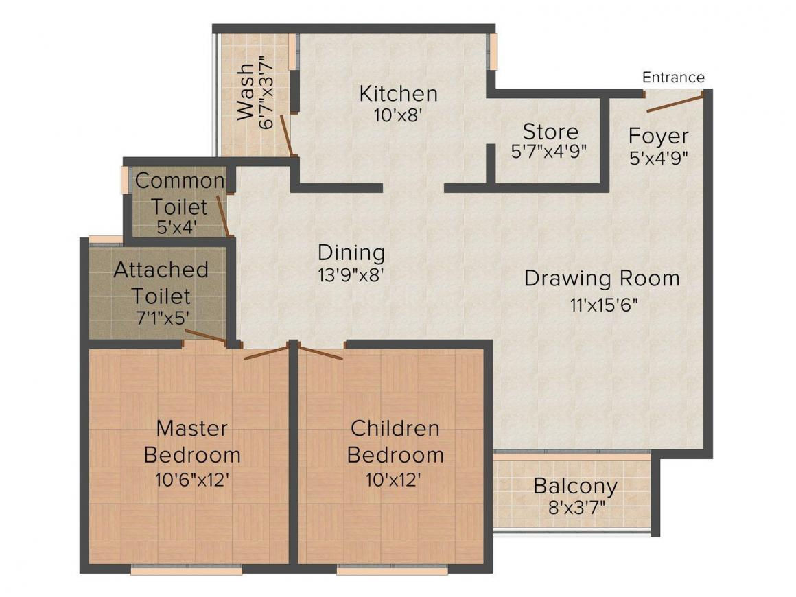 Floor Plan Image of 780.0 - 810.0 Sq.ft 2 BHK Apartment for buy in Pacifica San Martin