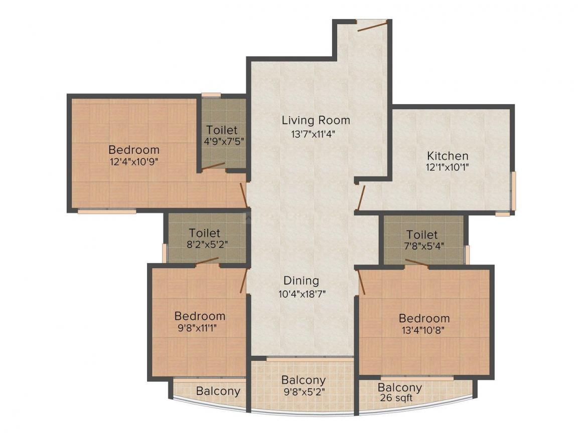 Floor Plan Image of 852.0 - 1581.0 Sq.ft 2 BHK Apartment for buy in Cyber Palms Silver