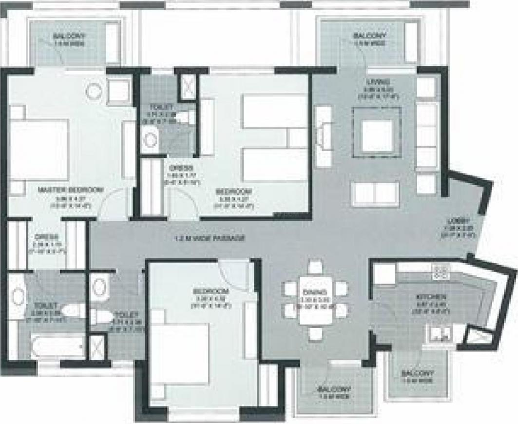 Unitech The Close North Floor Plan: 3 BHK Unit with Built up area of 1997 sq.ft 1