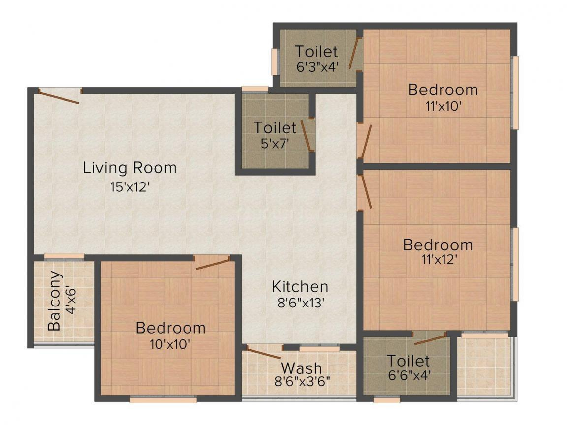Floor Plan Image of 660.0 - 680.0 Sq.ft 2 BHK Apartment for buy in Nyalkaran Shree Siddheshwar Heaven