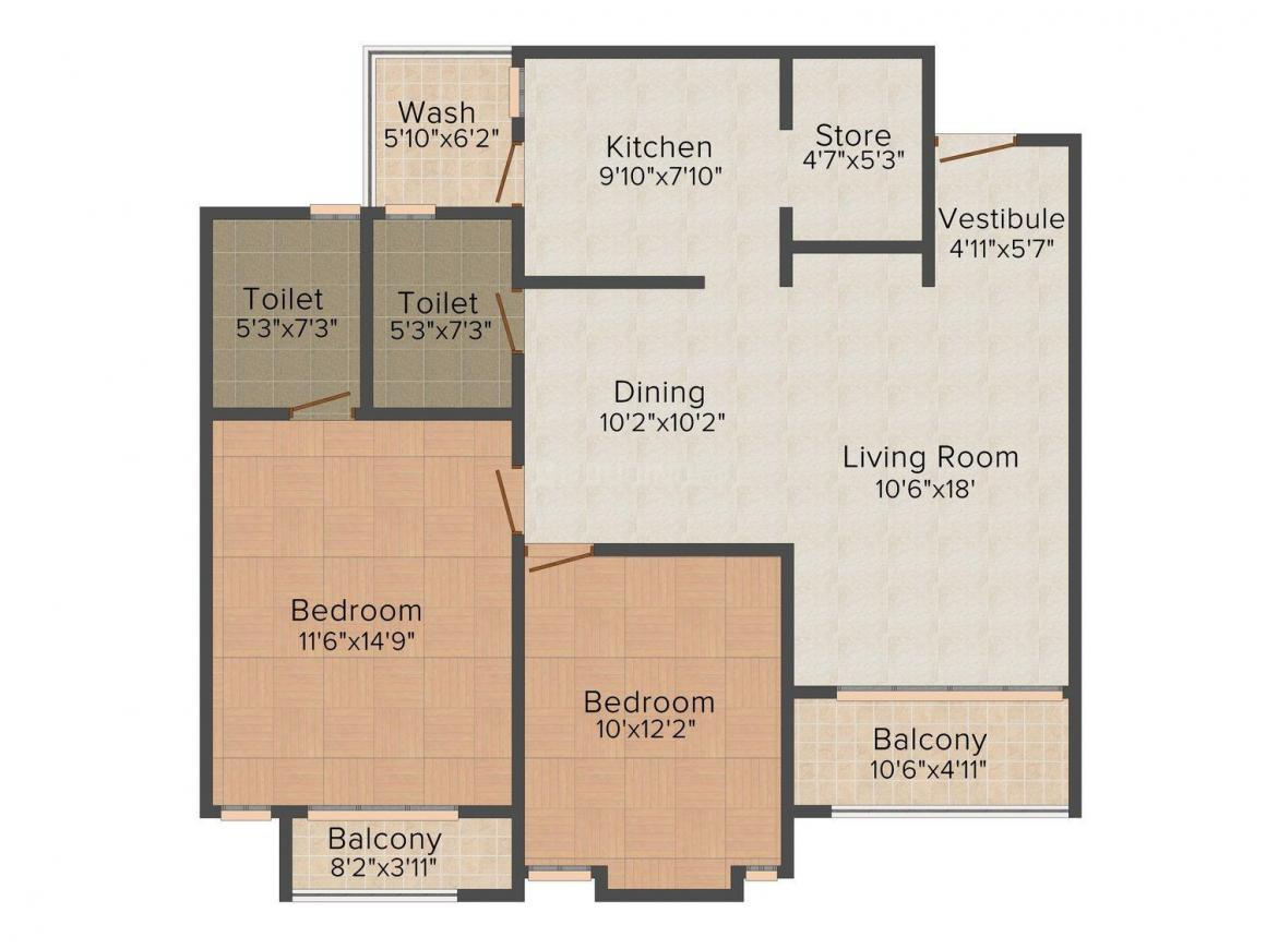 Floor Plan Image of 824.0 - 3573.0 Sq.ft 2 BHK Apartment for buy in Ruchi Lifescapes