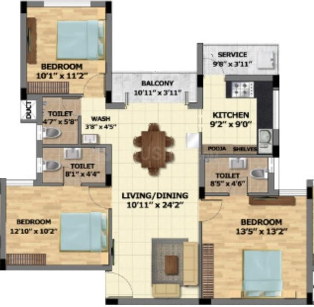 S And P Adornia Floor Plan: 3 BHK Unit with Built up area of 1317 sq.ft 1